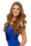 Porträt der sexy Frau in einer blauen Spitze Lizenzfreies Stockbild