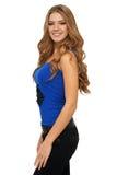 Porträt der sexy Frau in einer blauen Spitze Lizenzfreie Stockbilder