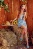 Porträt der sexy jungen Frau, die auf dem Heu sitzt Lizenzfreie Stockbilder