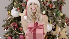 Porträt der sexy weiblichen Blondine, die Geschenk im Kasten nahe Weihnachtsbaum gibt stock video
