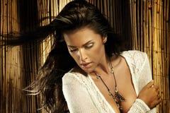 Porträt der tragenden Halskette des schönen Brunette. Lizenzfreies Stockfoto