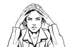 Porträt der verärgerten Geschäftsfrau halten Haupt mit Headacke-Skizzen-Geschäftsfrau Tired Or Upset Stockbilder