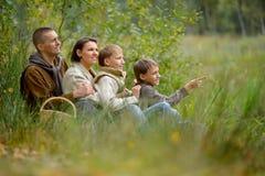 Porträt der vierköpfiger Familie im Park stockbilder
