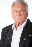 Porträt des älteren Bürgers in der schwarzen Lederjacke Lizenzfreies Stockbild