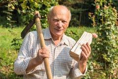 Porträt des älteren Mannes mit Axt auf seiner Schulter und eine Hälfte des Holzes in seiner Hand im Garten lizenzfreie stockbilder