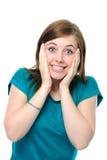 Porträt des überraschten Mädchens Stockfotos