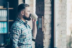 Porträt des überzeugten erfahrenen ruhigen ruhigen starken bea Stockfoto