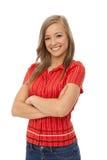Porträt des überzeugten lächelnden Mädchens Stockfotos