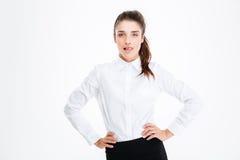 Porträt des überzeugten verlockenden jungen busineswoman Lizenzfreies Stockfoto