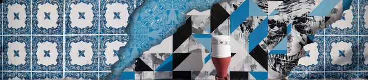 Porträt des alten Mannes mit gemalten Azulejo-Fliesen Lizenzfreies Stockbild
