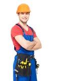 Porträt des Arbeiters mit Werkzeugen Stockfotos