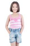 Porträt des asiatischen netten Mädchenstellungslächelns Stockbilder