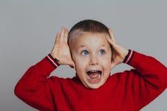 Porträt des attraktiven überraschten Jungen in der roten Strickjacke, die seinen Kopf mit den Händen hält, schließen oben lizenzfreie stockfotografie