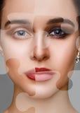 Porträt des attraktiven Mädchens mit Puzzlespiel auf ihrem Gesicht Stockbild