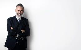 Porträt des bärtigen Geschäftsmanntragens modisch Stockfotografie