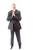 Porträt des bärtigen Mannes seine Hände betend und halten umklammert Stockbilder