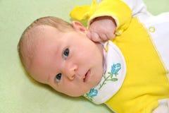 Porträt des Babys auf einem grünen Hintergrund Stockfotografie