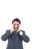 Porträt des betonten Geschäftsmannes, der in den Schmerz schreit und ihn hat Stockfotografie