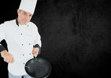 Porträt des Chefs vortäuschend zu kochen Lizenzfreie Stockbilder