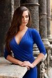 Porträt des eleganten Mädchens in einem blauen Kleid Stockfotos