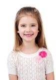 Porträt des entzückenden lächelnden kleinen Mädchens lokalisiert Stockbilder