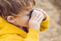 Porträt des entzückenden netten stillstehenden und trinkenden Tees des Jungen von einem Th Stockfotos
