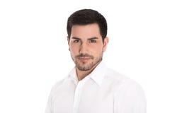Porträt des erfolgreichen attraktiven Geschäftsmannes lokalisiert auf Weiß. stockfotos