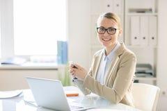 Porträt des erfolgreichen Managers im Büro lizenzfreie stockfotografie