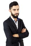 Porträt des ernsten Geschäftsmannes mit Bart lizenzfreie stockbilder