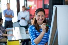Porträt des Geschäftsfrauschreibens auf Flip-Chart lizenzfreies stockbild