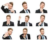 Porträt des Geschäftsmannes mit verschiedenen Gefühlen stockbild