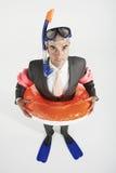 Porträt des Geschäftsmannes With Swimming Gear Lizenzfreies Stockfoto