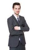 Porträt des glückliche Mitte gealterten Geschäftsmannes lizenzfreies stockfoto
