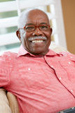 Porträt des glücklichen älteren Mannes zu Hause Stockbilder