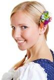 Porträt des glücklichen bayerischen Mädchens Stockfoto