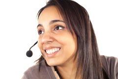 Porträt des glücklichen lächelnden netten Stütztelefonbetreibers Lizenzfreie Stockfotografie