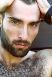 Porträt des hübschen männlichen Kerls mit Wassertropfen auf а-fac Stockbilder