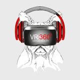 Porträt des Handabgehobenen betrages Hunde Hund in den Gläsern der virtuellen Realität Vektorillustration des Handabgehobenen bet Stockfotografie