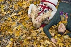 Porträt des hohen Winkels von den jungen Paaren, die auf Herbstlaub am Park liegen Stockfotografie