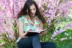 Porträt des jungen Mädchens sitzend nahe dem Busch mit rosa Blumen und gelesen dem Buch stockbild