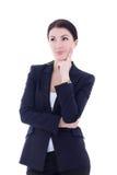 Porträt des jungen schönen Geschäftsfrauträumens an lokalisiert Stockbilder