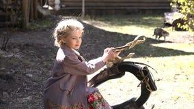 Porträt des kleinen hübschen Mädchens kleidete im traditionellen Kostüm an, das mit Abfangen in der ländlichen Landschaft, Dorf s stock video footage
