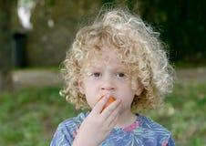 Porträt des kleinen Jungen blond und gelockt Lizenzfreie Stockbilder