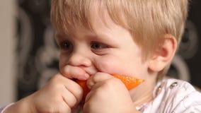 Porträt des kleinen Jungen, der saftige reife Orange isst stock video footage