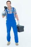 Porträt des Klempners Kolben und Werkzeugkasten halten Stockfotos