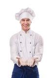 Porträt des lächelnden Hauptkochs mit Handzeichen lizenzfreie stockfotos