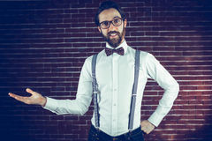 Porträt des lächelnden Manngestikulierens Lizenzfreie Stockfotos