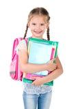 Porträt des lächelnden Schulmädchens mit Schultasche Lizenzfreies Stockbild