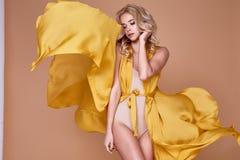 Porträt des langen Seidenkleids der schönen sexy der Frau blonden Abnutzung Erb stockfoto