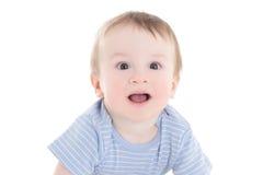 Porträt des lustigen Babykleinkindes lokalisiert auf Weiß Lizenzfreies Stockfoto
